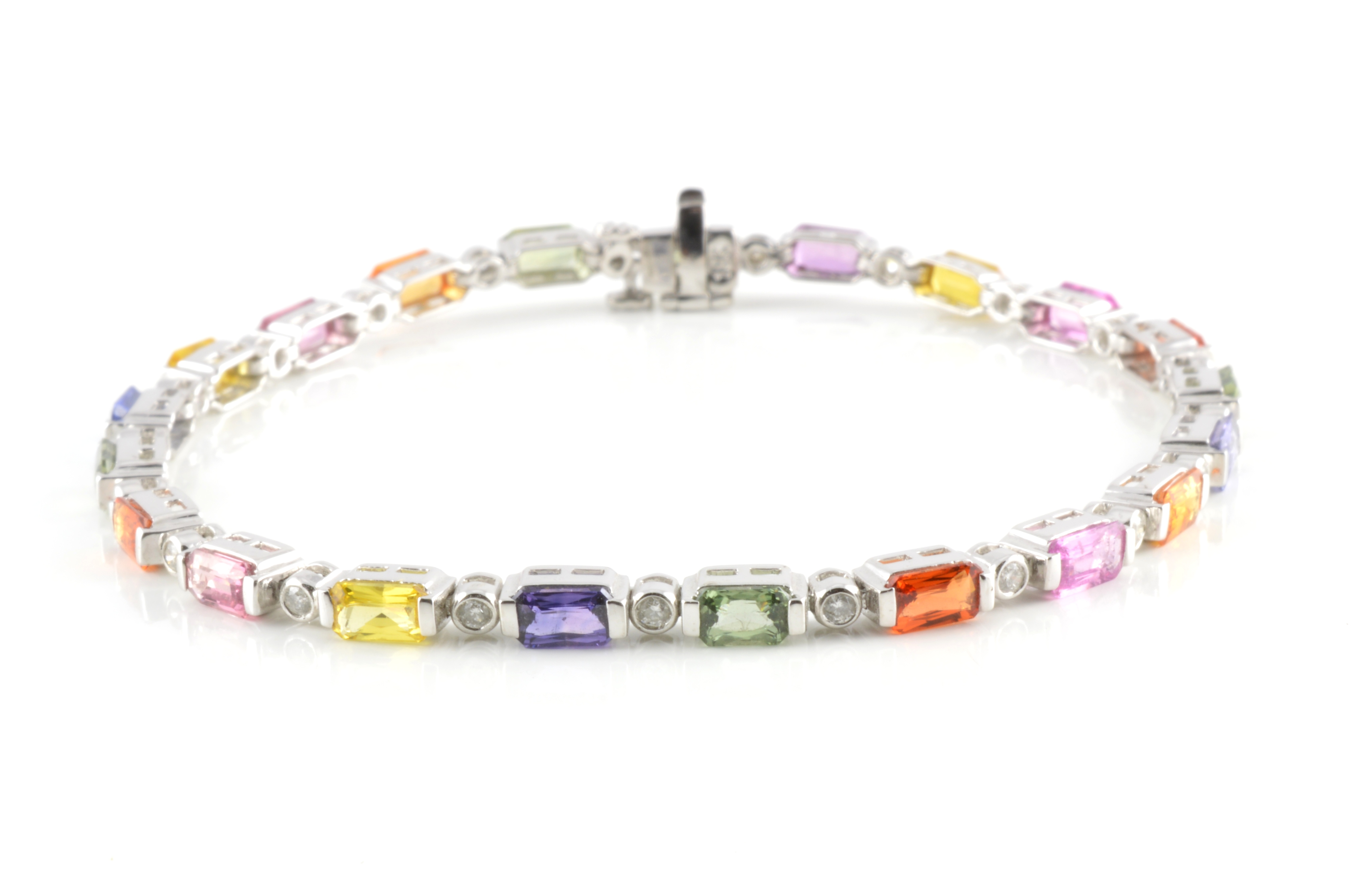 18ct White Gold Multi Coloured Sapphire And Diamond Bracelet