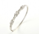 14ct White Gold Diamond Bangle