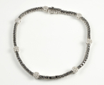 18ct White Gold Black and White Diamond Bracelet