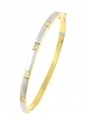 18ct Gold and White Gold Cubic Zirconia Bangle