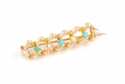 9ct Gold Turquoise and Pearl Bar Knot Brooch