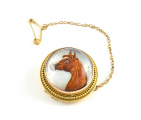 18ct Gold Reverse Intaglio Horse Brooch