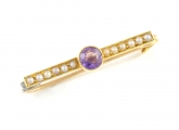 9ct Gold Amethyst and Seed Pearl Brooch