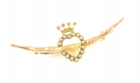 9ct Rose Gold Seed Pearl Coronet Brooch