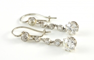 14ct White Gold Antique Diamond Drop Earrings
