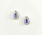 9ct White Gold Tanzanite and Diamond Studs