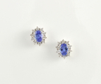 9ct White Gold Tanzanite and Diamond Cluster Studs