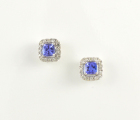 18ct White Gold Tanzanite and Diamond Cluster Studs