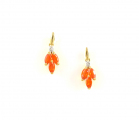 9ct Gold Fire Opal and Diamond Drop Earrings