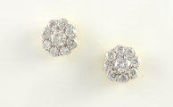 18ct Gold Diamond Cluster Stud Earrings