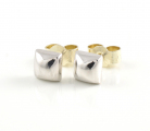 9ct White Gold Square Stud Earrings