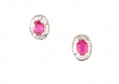 18ct White Gold Ruby and Diamond Studs