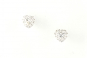 18ct White Gold Heart Shape Diamond Cluster Studs