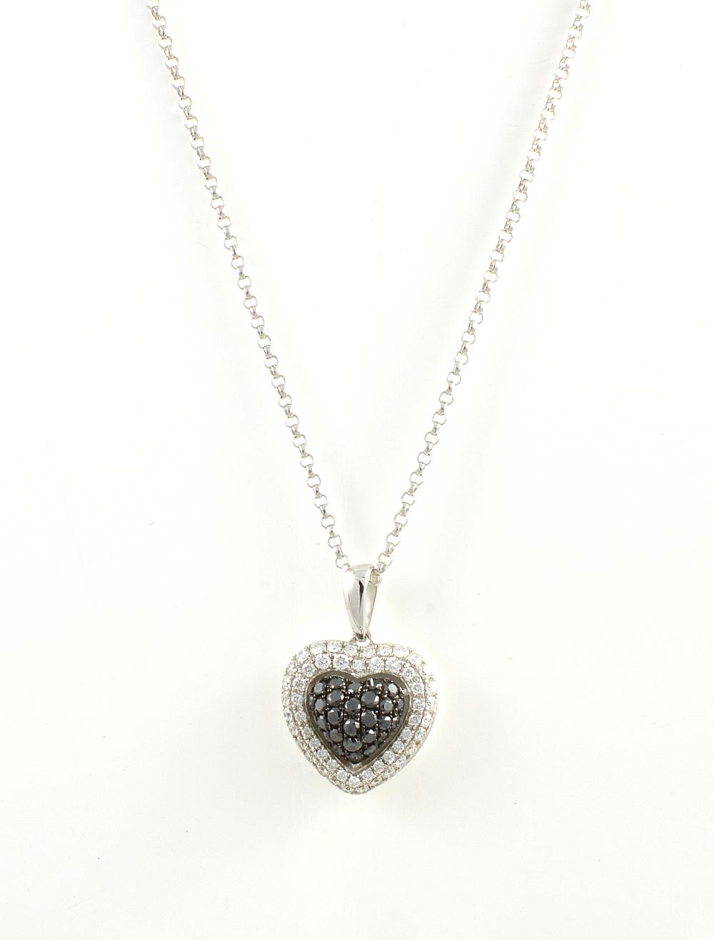18ct white gold black and white brilliant cut diamond heart necklace