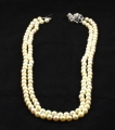 18ct White Gold Diamond Clasped Two Row Pearl Necklace