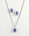 9ct White Gold Tanzanite and Diamond Cluster Set