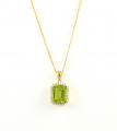 9ct Gold Peridot and Diamond Cluster Pendant