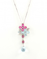 9ct White Gold Blue and Pink Topaz Drop Pendant