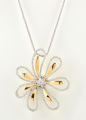 18ct White and Yellow Gold Diamond Flower Pendant