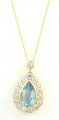 18ct Gold Aquamarine and Diamond Pendant