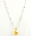 18ct White Gold Citrine and Diamond Necklace.