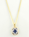 9ct Gold Sapphire and Diamond Cluster Pendant
