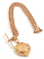 9ct Rose Gold Solid Albert Chain and Fob