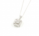 18ct White Gold Diamond Cluster Pendant