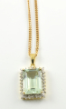 9ct Gold Aquamarine and Diamond Cluster Pendant and Chain