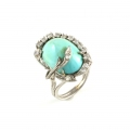 14ct White Gold Turquoise and Diamond Ring