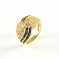18ct Gold Sapphire and Diamond Twist Ring