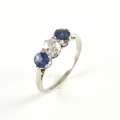 18ct White Gold Antique Sapphire and Diamond Three Stone Ring