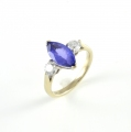 18ct White Gold Tanzanite and Diamond Three Stone Ring