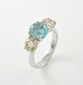 18ct White Gold Blue Zircon and Diamond Three Stone Ring