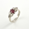 18ct White Gold Antique Ruby and Diamond Ring