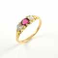 18ct Gold Antique Ruby and Diamond Ring