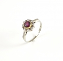 18ct White Gold and Platinum Antique Ruby and Diamond Ring