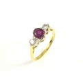 18ct Gold Ruby and Diamond Three Stone Ring
