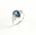 18ct White Gold London Blue Topaz and Diamond Ring