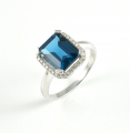 9ct White Gold London Blue Topaz and Diamond Cluster Ring