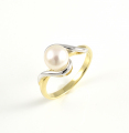 9ct White and Yellow Gold Pearl Twist Ring
