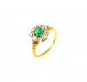 18ct Gold Antique Emerald and Diamond Cluster Ring