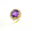 18ct Gold Amethyst and Diamond Cluster Ring
