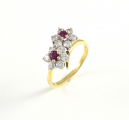 18ct Gold Ruby and Diamond Twist Cluster Ring