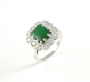 14ct White Gold Emerald and Diamond Cluster Ring