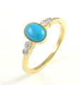 9ct Gold Turquoise and Diamond Ring