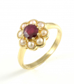 9ct Gold Ruby and Pearl Cluster Ring