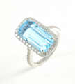 18ct White Gold Blue Topaz and Diamond Cluster Ring