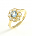 9ct Gold Aquamarine and Pearl Cluster Ring