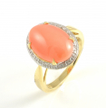 9ct Gold Coral and Diamond Cluster Ring